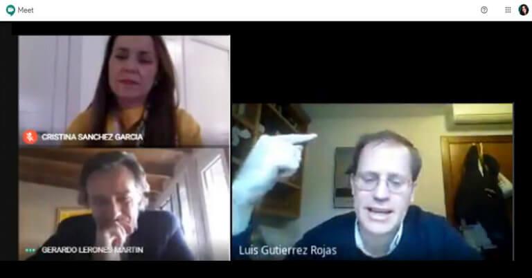 Un momento de la videoconferencia con Luis Gutiérrez Rojas.